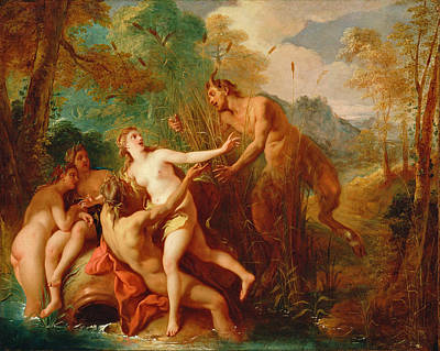 De Troy Painting - Pan And Syrinx by Jean-Francois Detroy