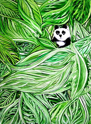 Painting - Panda Bear Sitting In Leaves Alcohol Inks by Danielle  Parent