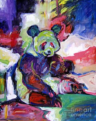 Panda Bear Painting - Panda by David Lloyd Glover