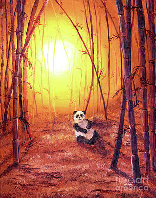 Panda In Golden Glow Print by Laura Iverson