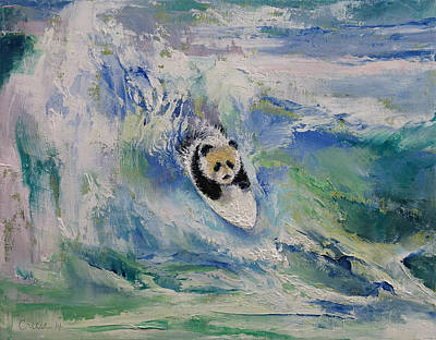 Humor. Painting - Panda Surfer by Michael Creese