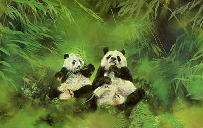Endangered Wildlife Painting - Pandas  by Odile Kidd