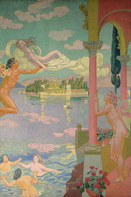 Psyche Painting - Panel 2 - Zephyr Transporting Psyche To The Island Of Delight by Maurice Denis