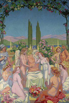 Thunderbolt Painting - Panel 5 - Jupiter Bestows Immortality On Psyche And Celebrates Her Marriage To Eros by Maurice Denis