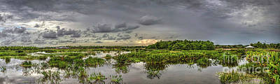 Nature Center Pond Photograph - Panorama, Florida Wetlands At Sunset by Felix Lai