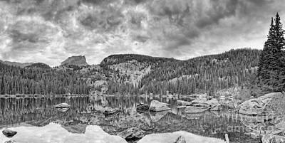 Panorama Of Bear Lake And Halletts Peak In Monochrome - Rocky Mountain National Park Estes Park Colo Print by Silvio Ligutti