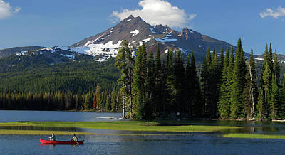 Mountain Photograph - Panorama Of Canoers On Sparks Lake Under Broken Top In Oregon by Reimar Gaertner