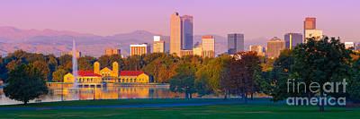 Panorama Of Denver Skyline From Museum Of Nature And Science - City Park Denver Colorado Print by Silvio Ligutti