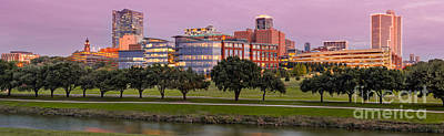 Panorama Of Downtown Fort Worth And Trinity River At Twilight - Dfw North Texas Print by Silvio Ligutti