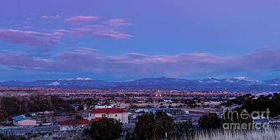 Panorama Of Espanola Valley With Sangre De Cristo Mountains During Twilight - Northern New Mexico Print by Silvio Ligutti