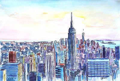 Panorama Of Manhattan Skyline With Brooklyn Original by M Bleichner