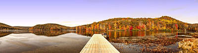 Row Boat Digital Art - Panorama Of Monkville Reservior by Geraldine Scull