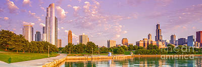 Panorama Of South Side Of Chicago Skyline And One Museum Park From Shedd Aquarium - Chicago Illinois Print by Silvio Ligutti