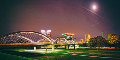 Panorama Of The Seventh Street Bridge And Downtown Fort Worth With Full Moon Above - Trinity River Print by Silvio Ligutti