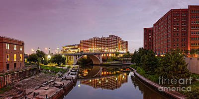 Panorama Of University Of Houston Downtown At Twilight - Reflection On Buffalo Bayou - Houston Texas Print by Silvio Ligutti