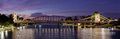 Panorama Of Waco Suspension Bridge Over The Brazos River At Twilight - Waco Central Texas Print by Silvio Ligutti