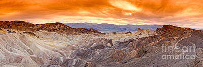 Panorama Of Zabriskie Point Manly Beacon In Death Valley National Park - Inyo County California Print by Silvio Ligutti