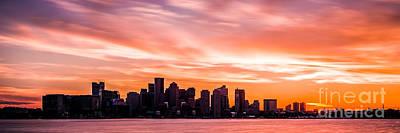 Panoramic Boston Skyline Sunset Photo Print by Paul Velgos