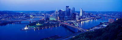Panoramic Evening View Of Pittsburgh Print by Panoramic Images