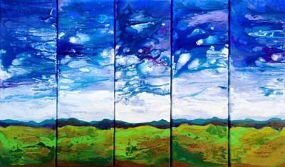 Pentaptych Painting - Panoramic Stormy Skies by Ivy Stevens-Gupta