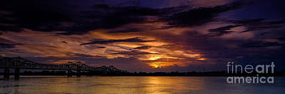 Panoramic Sunset At Natchez Print by T Lowry Wilson
