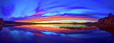 Manipulation Photograph - Panoramic Sunset At Round Lake by Bill Caldwell -        ABeautifulSky Photography