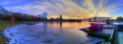 Winter Sunset Photograph - Panoramic Sunset Over The Boston Skyline by Joann Vitali
