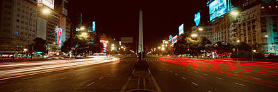 Buenos Aires Photograph - Panoramic View At Night Of Avenida 9 De by Panoramic Images