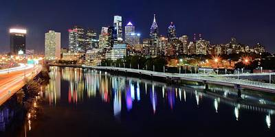 Boathouse Row Photograph - Panoramic View Of Philly by Frozen in Time Fine Art Photography