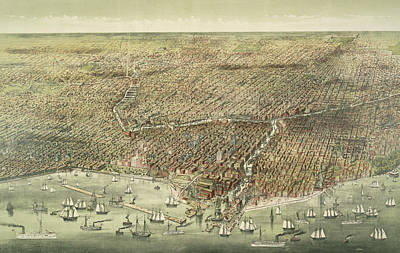 Panoramic View Of The City Of Chicago Print by American School