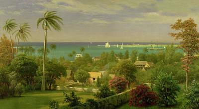 Bahamas Landscape Painting - Panoramic View Of The Harbour At Nassau In The Bahamas by Albert Bierstadt