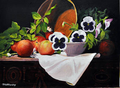 Phil Hopkins Painting - Pansies And Peaches by Phil Hopkins