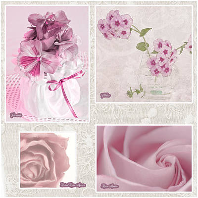 Lace Photograph - Pansies Roses And Phlox Photo Collage by Sandra Foster