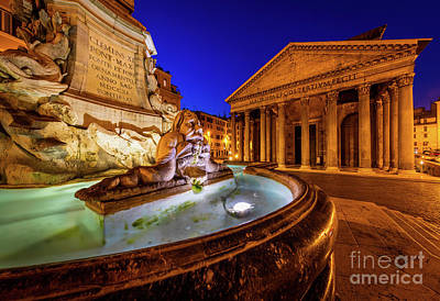 Pantheon Photograph - Pantheon By Night by Inge Johnsson