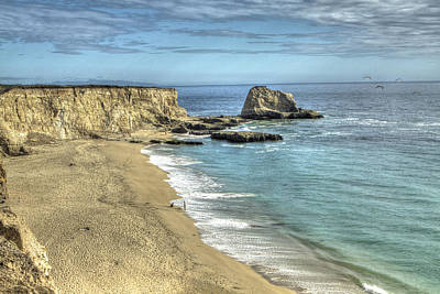 Hdr Photograph - Panther Beach From Cliffs 2 by SC Heffner