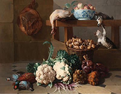 Cauliflower Painting - Pantry With Artichokes Cauliflowers And A Basket Of Mushrooms by Alexandre-Francois Desportes