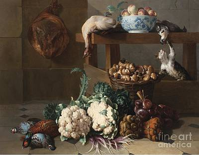 Cauliflower Painting - Pantry With Artichokes Cauliflowers And A Basket Of Mushrooms by MotionAge Designs