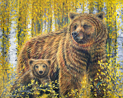 Bear Painting - Papa Bear by Teshia Art