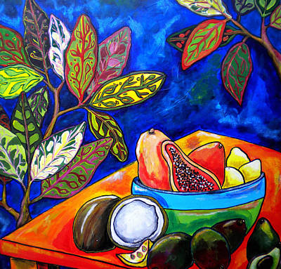 Caribbean Painting - Papaya Morning by Patti Schermerhorn