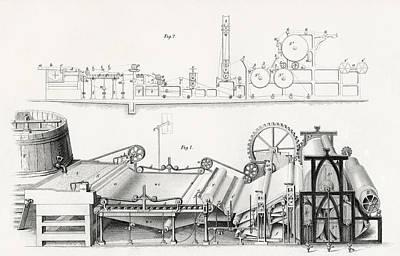 Paper Making Machine, 19th Century Print by Vintage Design Pics