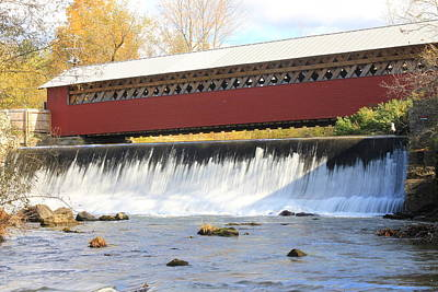 Bennington Photograph - Paper Mill Covered Bridge And Falls Bennington Vt by John Burk