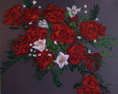 Hot Wax Painting - Paper Roses by Cheryl Lynn Looker