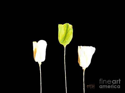 Paper Tulips Three Green Original by Marsha Heiken