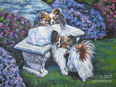 Papillon Dog Painting - Papillon In The Garden by Lee Ann Shepard