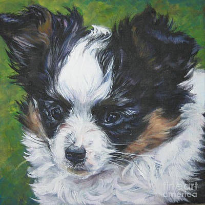 Papillon Dog Painting - Papillon Pup by Lee Ann Shepard