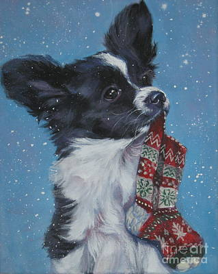 Papillon Dog Painting - Papillon Puppy With Xmas Stocking by Lee Ann Shepard