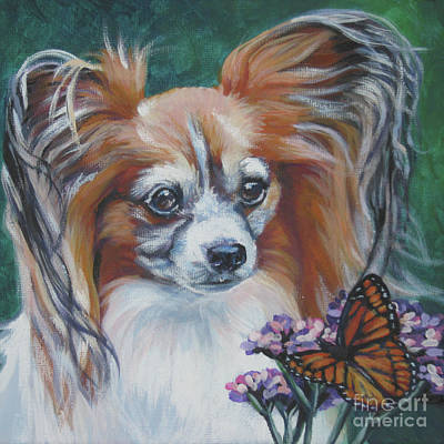 Papillon Dog Painting - Papillon With Monarch by Lee Ann Shepard