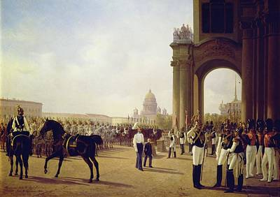 Army Painting - Parade At The Palace Square In Saint Petersburg by Adolphe Ladurner