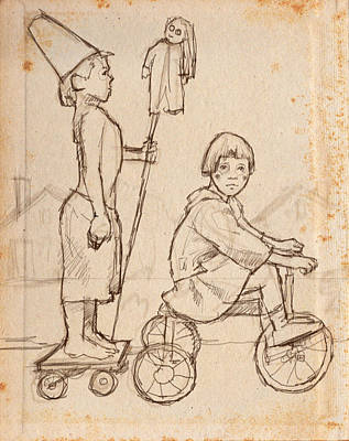 Tricycle Drawing - Parade by H James Hoff