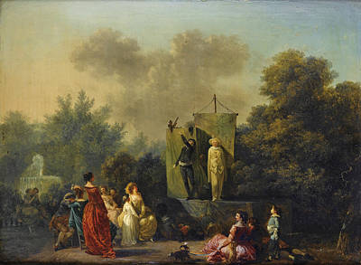 Painting - Parade With Pierrot Scapin And Arlequin by Nicolas-Antoine Taunay